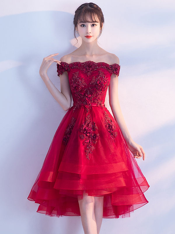2b39c1a3d298 ... Tulle Homecoming Dresses 2019 Short Prom Dresses Red Off The Shoulder  Lace Applique Beading Cocktail Dress ...