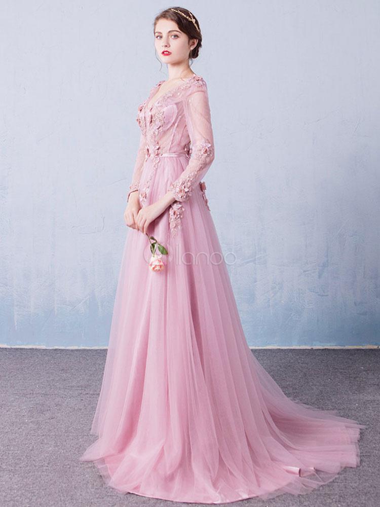 Vestido de Baile de tul Rosa púrpura con cuello en V de línea A con ...