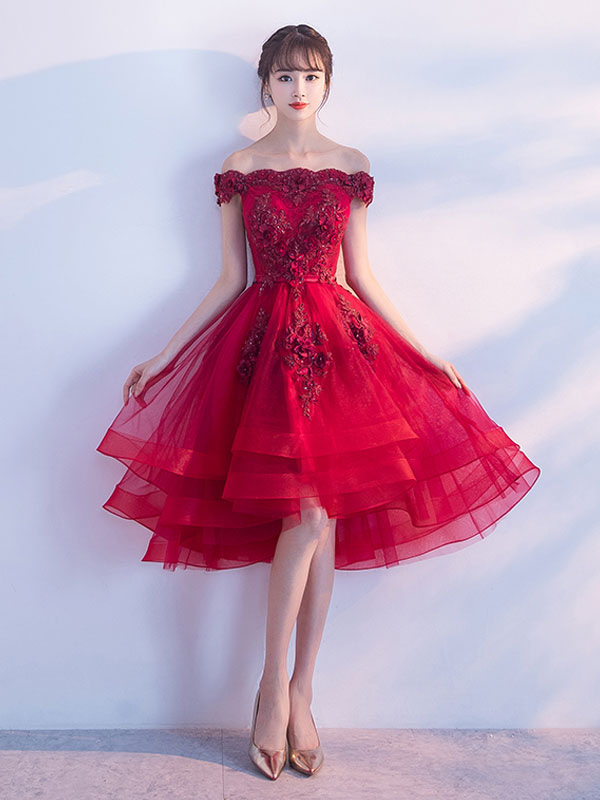 a45232a964e ... Tulle Homecoming Dresses 2019 Short Prom Dresses Red Off The Shoulder  Lace Applique Beading Cocktail Dress ...
