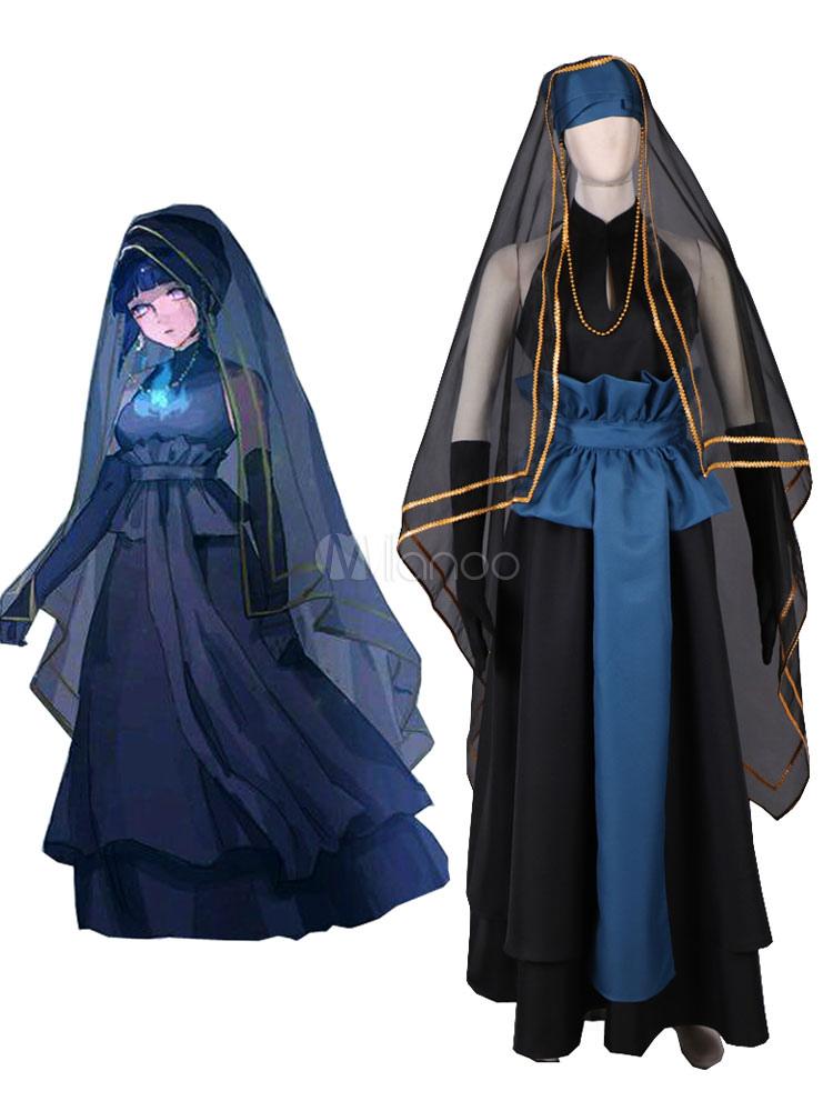 Naruto Hinata Hyuga Cosplay Costume Black Wedding Dress Halloween