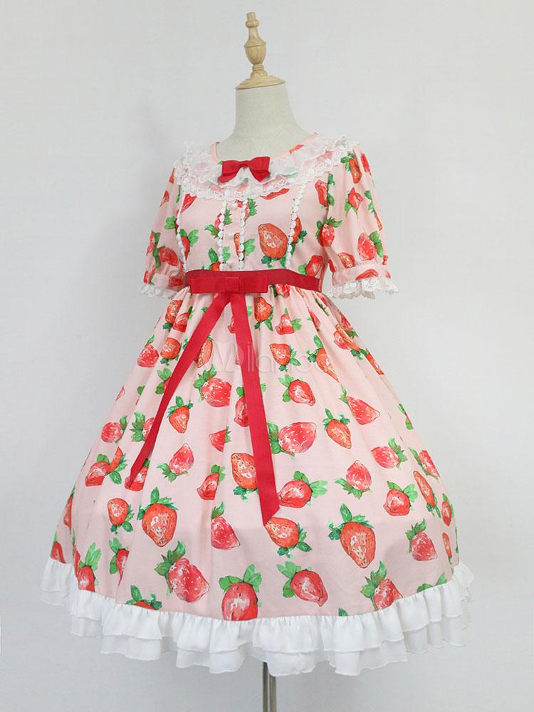 Vestido de Lolita de poliéster estilo dulce con manga corta Fiesta ...
