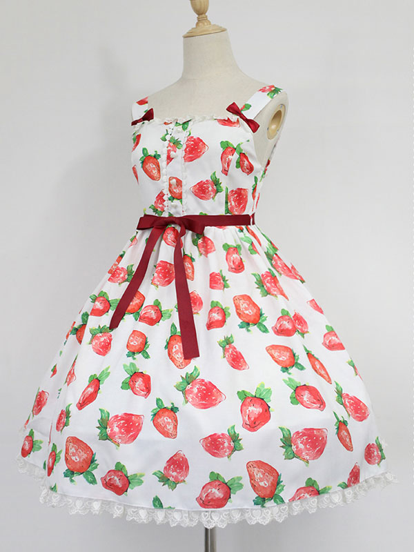 Buy Sweet Lolita Dress Neverland Strawberry Sweetheart JSK Printed Lolita Jumper Skirt for $77.99 in Milanoo store