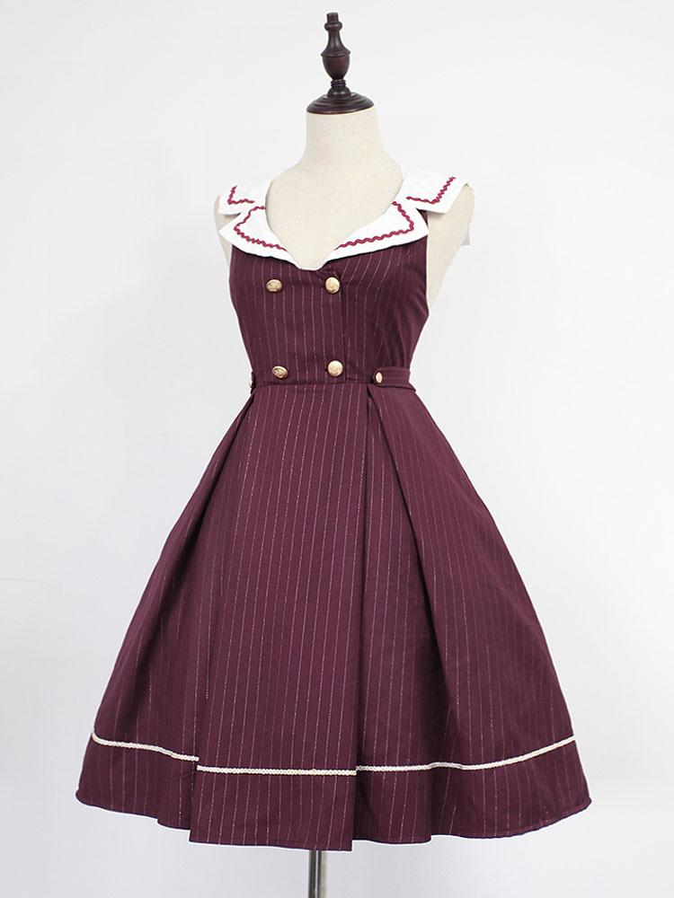 Buy Classic Lolita Dress Neverland Morning Star Idol Academy JSK Burgundy Stripe Sailor Collar Lolita Jumper Skirt for $179.99 in Milanoo store