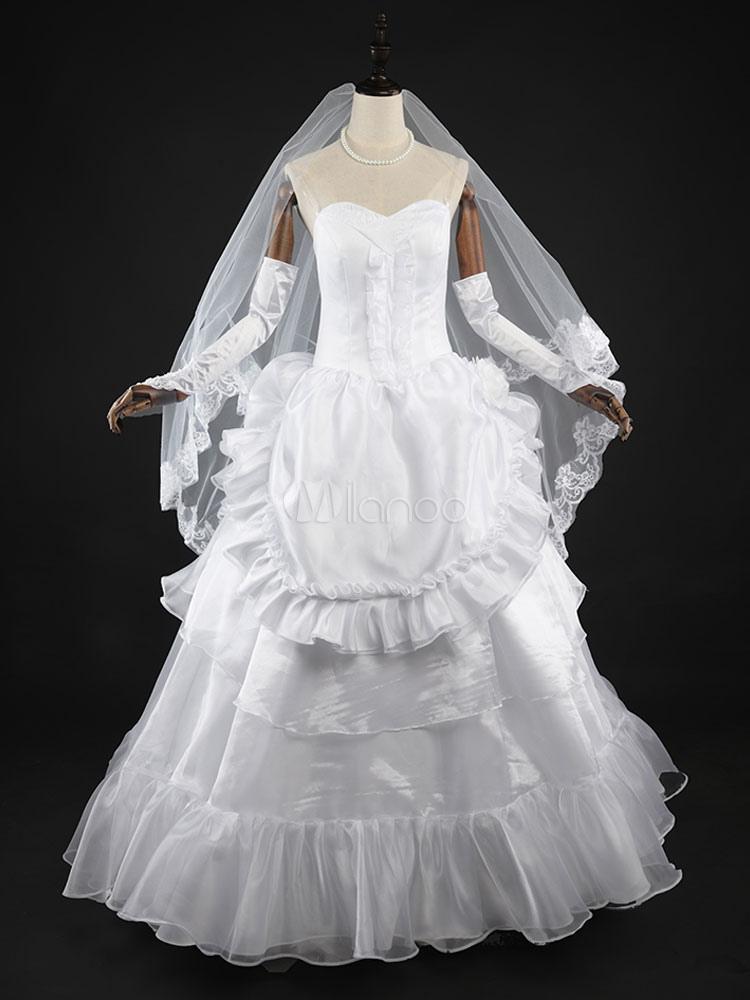 Kawaii Anime Girls Wedding Dress In 3 Pieces Halloween Milanoocom - Anime Wedding Dress