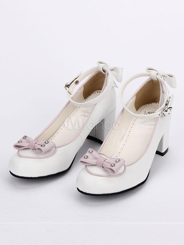 Zapatos de lolita de PU de puntera cuadrada de dos tonos blancos para ocasión informal cnG6PZNN2