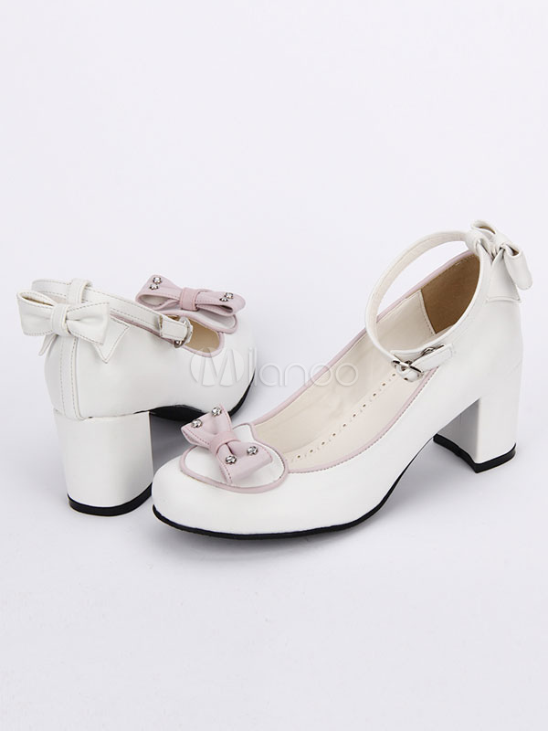 Buy Sweet Lolita Pumps Bow Decor Ankle Strap Platform Chunky Heel Lolita Shoes for $60.99 in Milanoo store