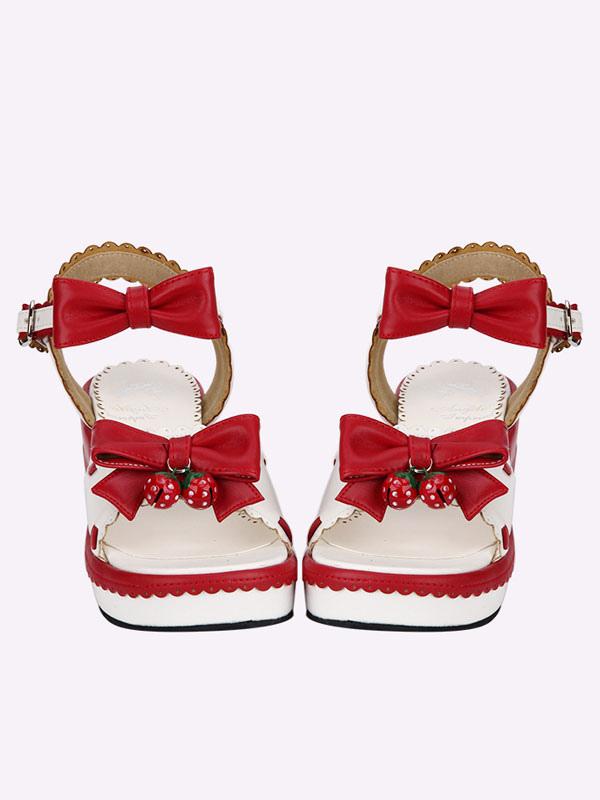 Sandalias de lolita blancas con lazo oOA30z