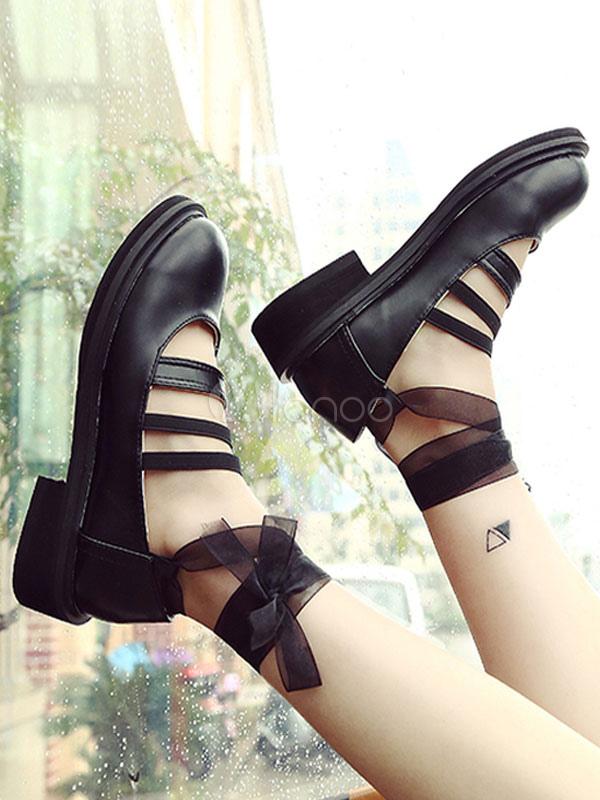 Kawaii Lolita Shoes Ballerina Lace Up Chunky Heel Round Toe