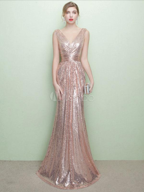 Sequin Evening Dresses Champagne Mermaid Formal Dress V Neck ...