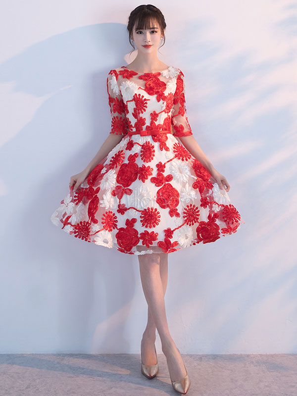 8461d55456a Red Homecoming Dresses Flowers Embroidered Short Prom Dress Half Sleeve  Knee Length Cocktail Dress-No ...