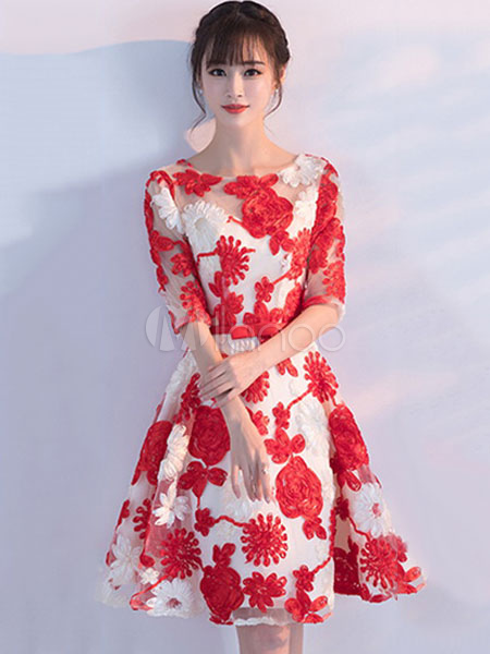fdb895a7003 ... Red Homecoming Dresses Flowers Embroidered Short Prom Dress Half Sleeve  Knee Length Cocktail Dress-No ...