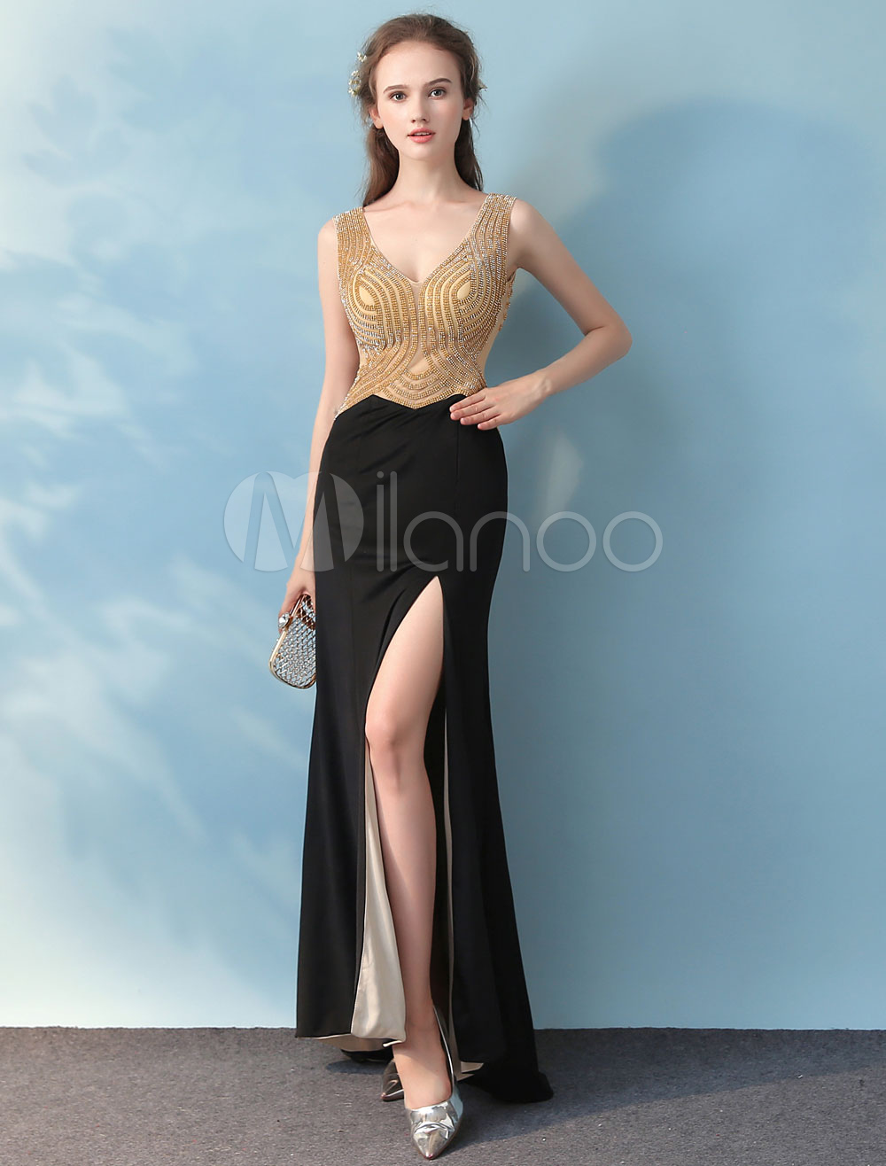 Black Prom Dresses Long Sexy High Split Evening Dresses Beading V Neck Floor Length Formal Dress