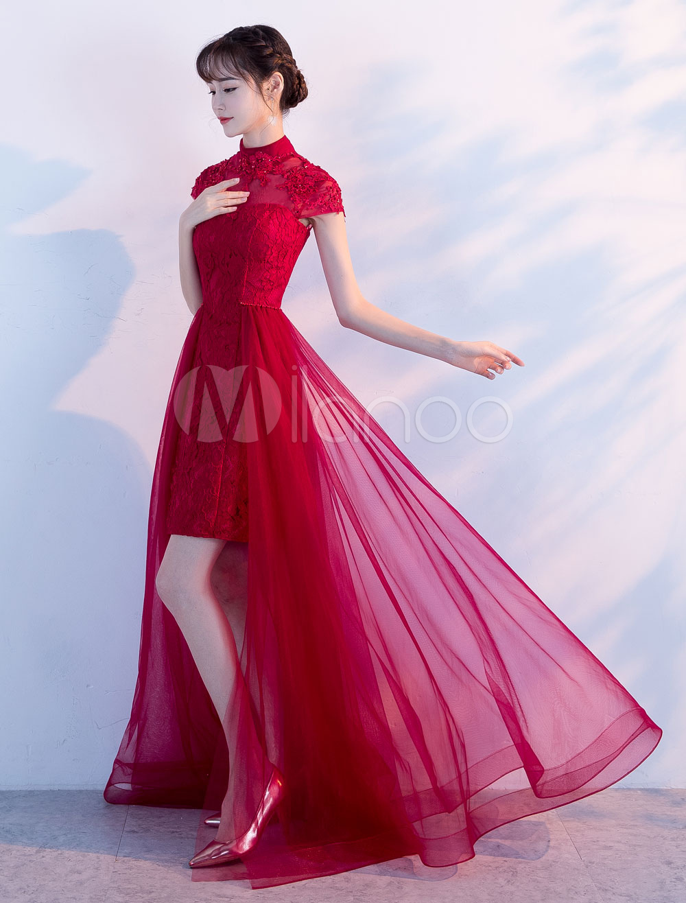 Burgundy Prom Dresses Long Lace Tulle Evening Dresses High Low Short Sleeve Formal Dress
