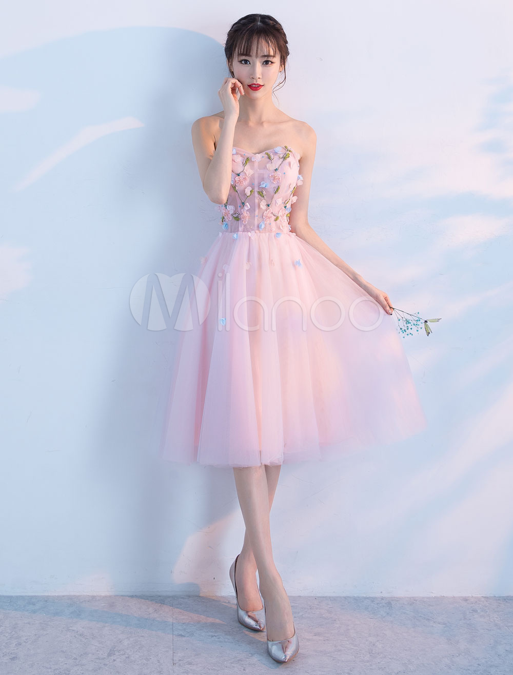 40329f232a3 Tulle Homecoming Dresses Soft Pink Sweetheart Strapless Short Prom ...