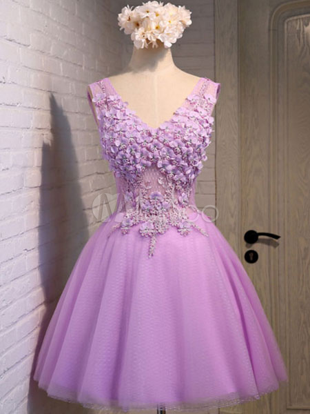 Lilac Homecoming Dresses Flowers Beading Short Prom Dress Tulle Mini Party Dresses