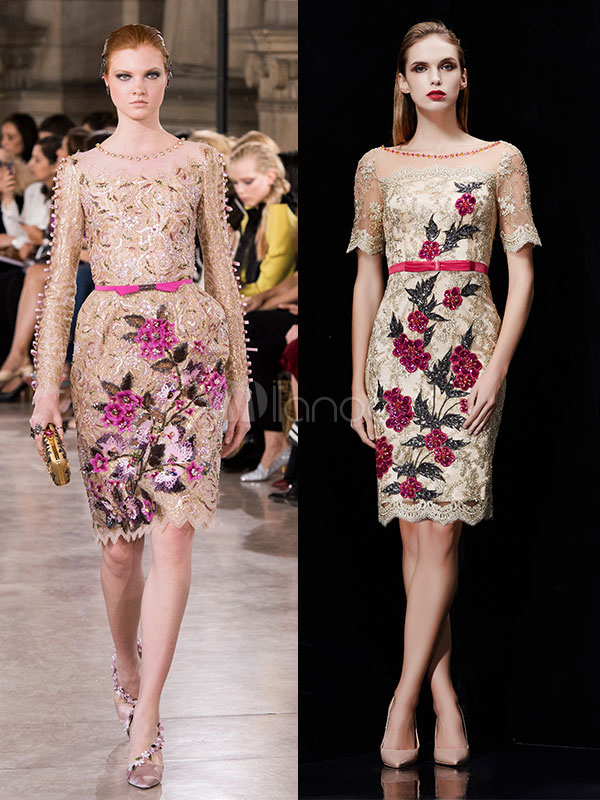 Buy Sequin Cocktail Dress Light Gold Flowers Embroidered Short Sleeve Knee Length Sheath Party Dress for $189.19 in Milanoo store