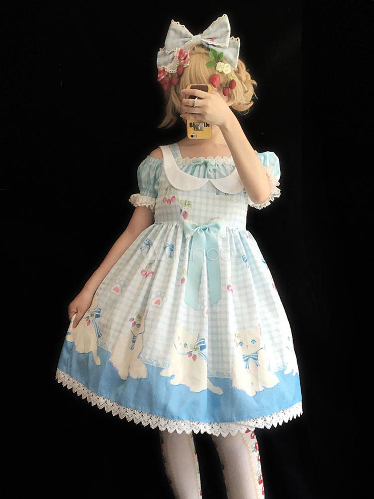 Buy Sweet Lolita JSK Infanta Cherry Check Jumper Skirt for $53.99 in Milanoo store