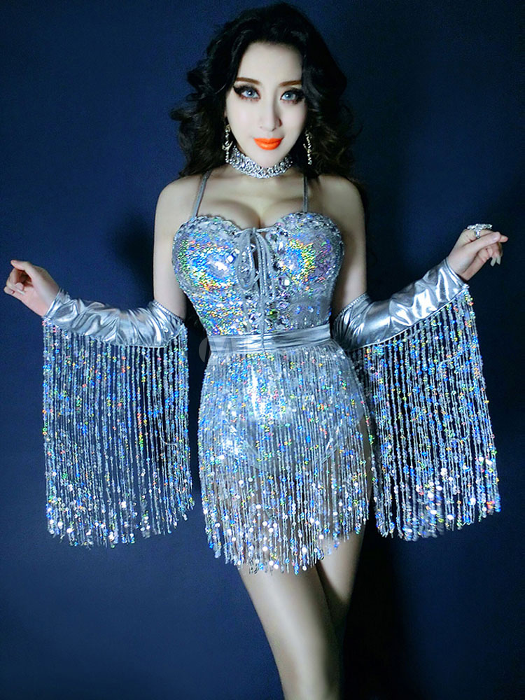 1cf17ac22240 ... Hip Hop Dance Costumes Sexy Sequined Jumpsuit With Arm Covers-No.4 ...