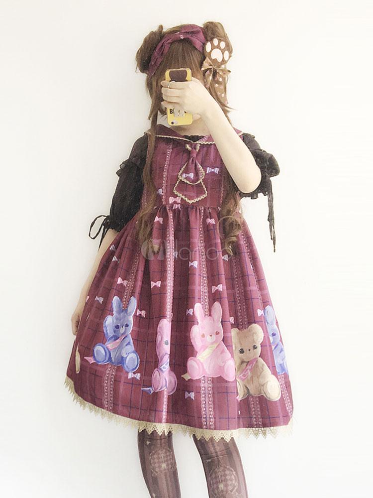 Buy Sweet Lolita JSK Sweet Infanta Lolita Bunny And Bear Jumper Skirt for $59.99 in Milanoo store