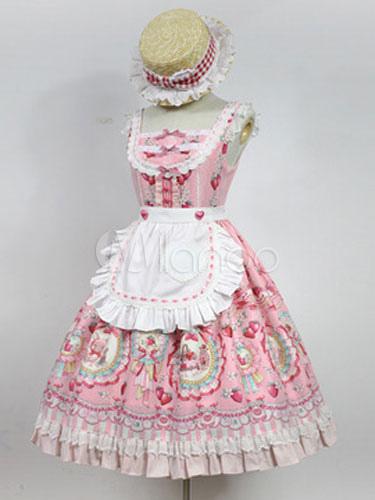 Buy Sweet Lolita Dress JSK Pink Strawberry Printed Lolita Jumper Skirt for $180.79 in Milanoo store