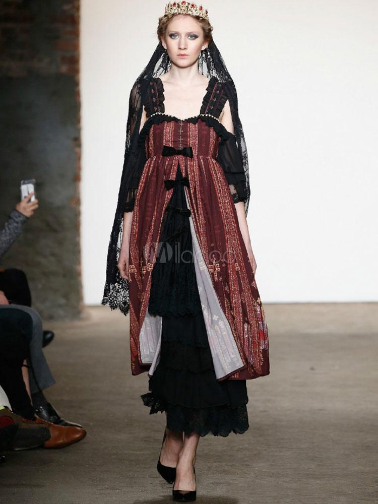 Buy Classic Gothic Lolita Jsk Jumper Skirt Byzantium Style Modern Fancywork Jumper Skirt for $262.79 in Milanoo store