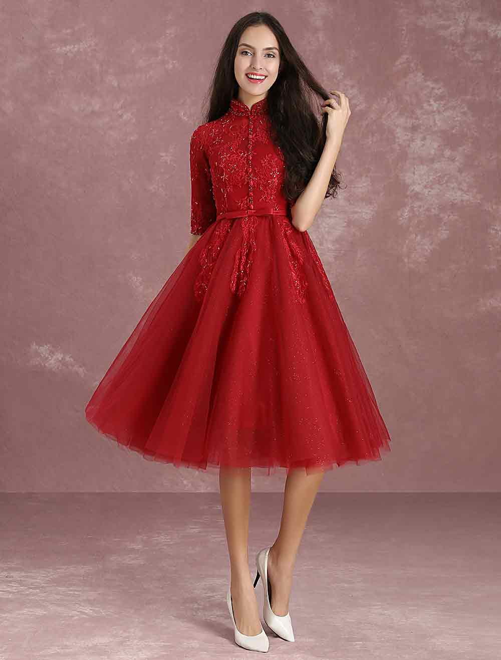 Buy Burgundy Homecoming Dress Tulle Short Prom Dresses Mandarin Collar Half Sleeve Button Lace Applique Beading Bow Sash A Line Tea Length Cocktail Dress for $118.79 in Milanoo store