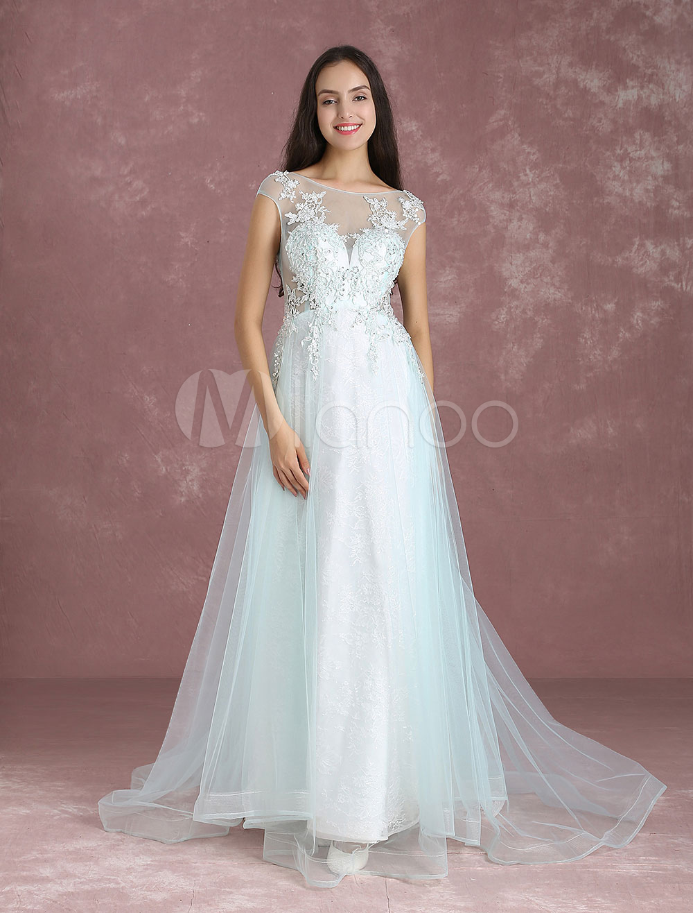 Buy Long Prom Dresses Pastel Blue Tulle Occasion Dress Backless Bateau Neckline Lace Applique Beading A Line Party Dress With Train for $167.19 in Milanoo store