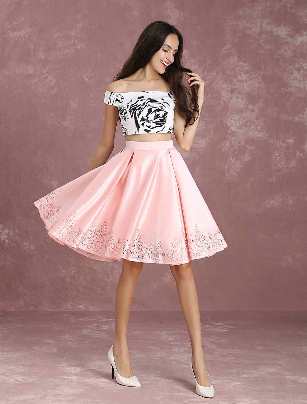 Buy Two Piece Homecoming Dress Printed Off The Shoulder Prom Dress Crop Top Satin A Line Knee Length Party Dress for $106.24 in Milanoo store