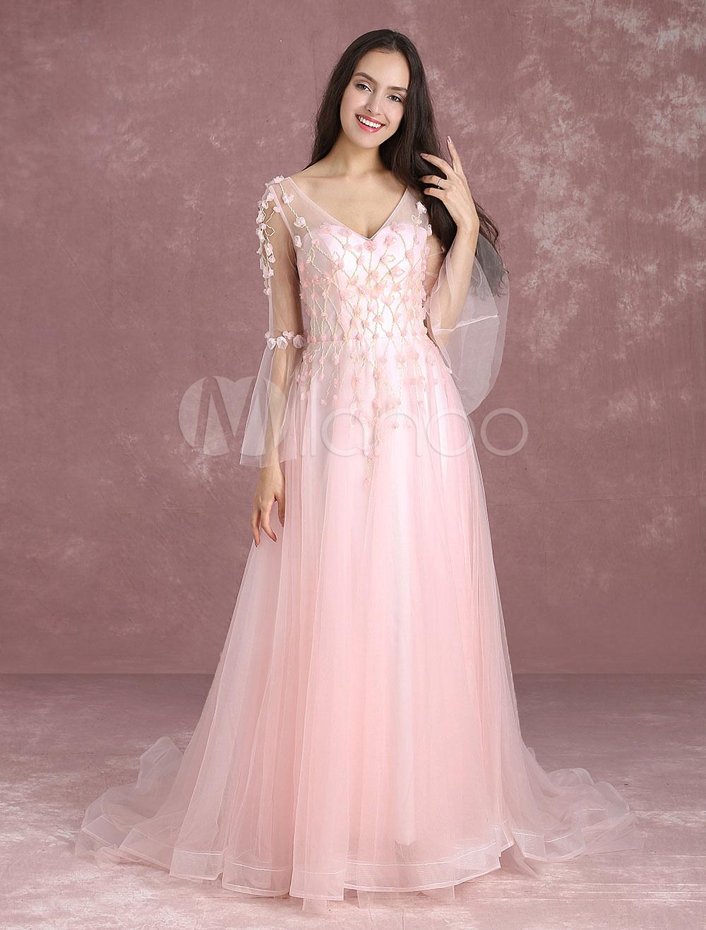 c856b2f7512bd Blush Prom Dresses Soft Pink Pageant Dress Tulle 3D Flower Beading V ...
