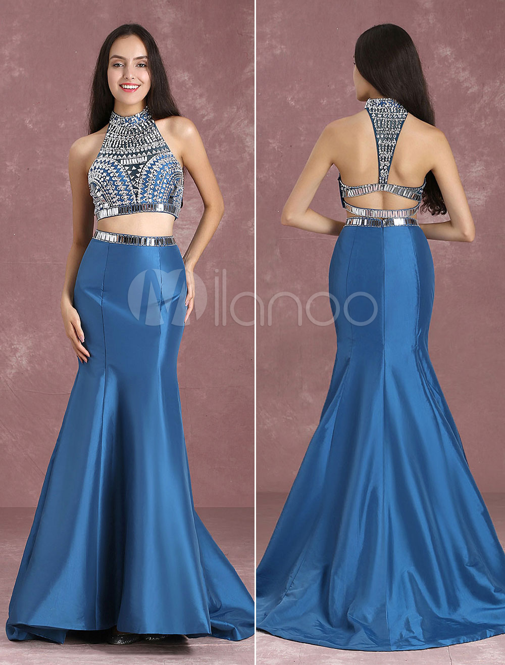 64b1edda4934 ... Two Piece Prom Dresses Mermaid Homecoming Dress Crop Top Ink Blue  Taffeta Beading High Collar Occasion. 12. 45%OFF. Color:Ink Blue