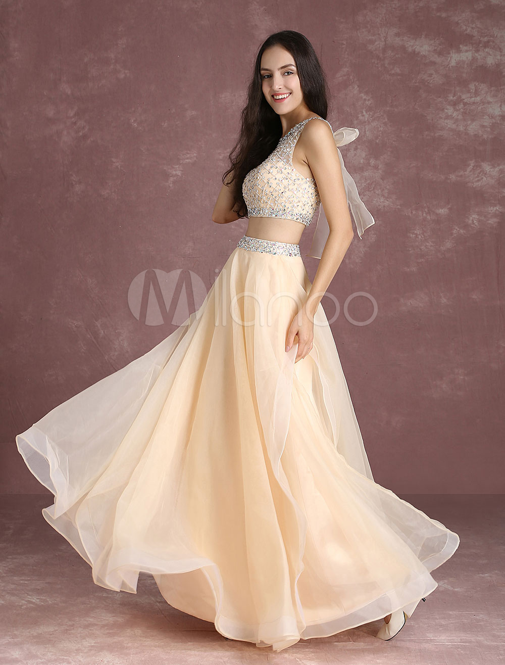 f6b48e5091a Two Piece Prom Dresses Crop Top Homecoming Dress Nude Tulle Beading ...