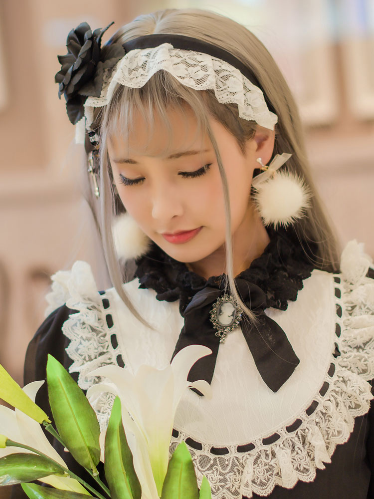 Buy Gothic Lolita Kc Pure Black Requiem Lolita Headband for $22.07 in Milanoo store