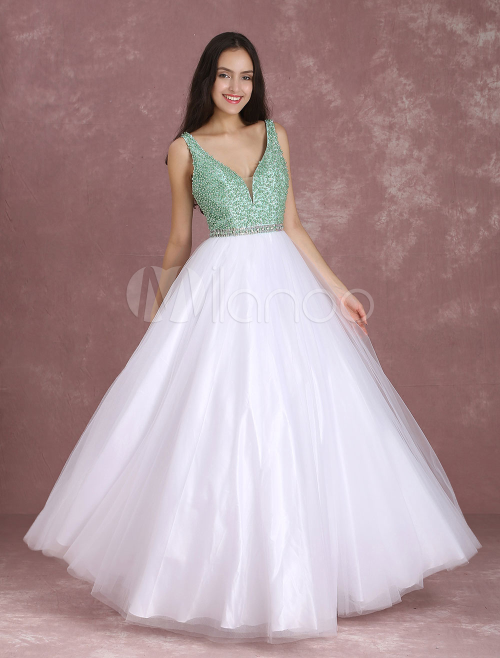 Buy Tulle Prom Dresses Avocado Green Beading Pageant Dresses V Neck Sleeveless Floor Length Quinceanera Dresses for $221.39 in Milanoo store