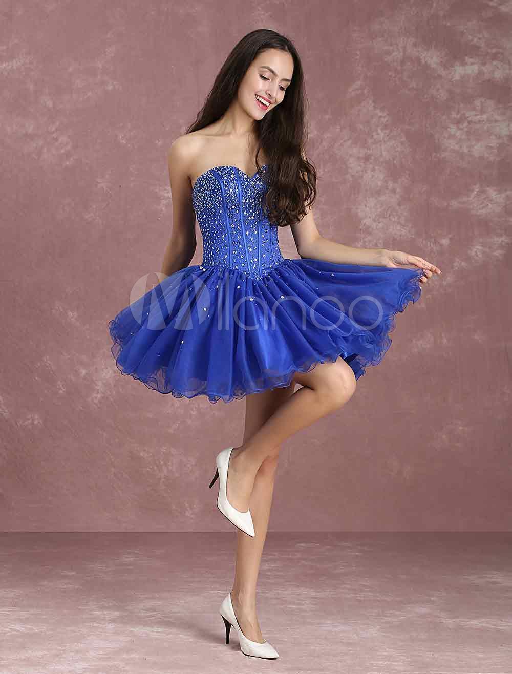 Buy Royal Blue Prom Dresses Strapless Sleeveless Sweetheart Homecoming Dresses Short Beaded Cocktail Dress for $169.19 in Milanoo store