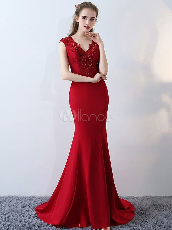 Buy Mermaid Evening Dresses Burgundy Satin V Neck Lace Beading Formal Dresses With Train for $167.19 in Milanoo store
