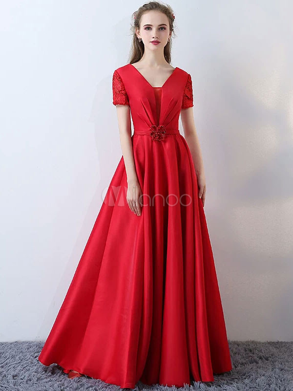 Buy Satin Evening Dresses Burgundy Long Prom Dresses Short Sleeve V Neck Floor Length Formal Dress for $140.79 in Milanoo store