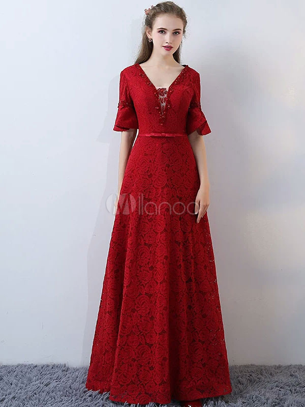 Buy Lace Evening Dresses Burgundy Bell Sleeve Long Prom Dresses V Neck Floor Length Formal Dress With Bow Sash for $167.19 in Milanoo store