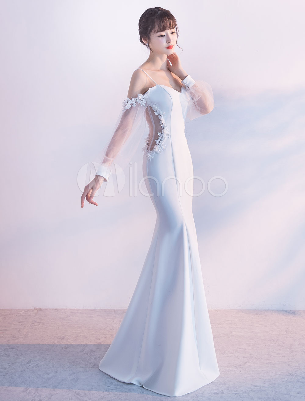 Buy Mermaid Evening Dresses Off The Shoulder Long Prom Dress Satin Long Sleeve Illusion Straps Floor Length Formal Dress for $167.19 in Milanoo store