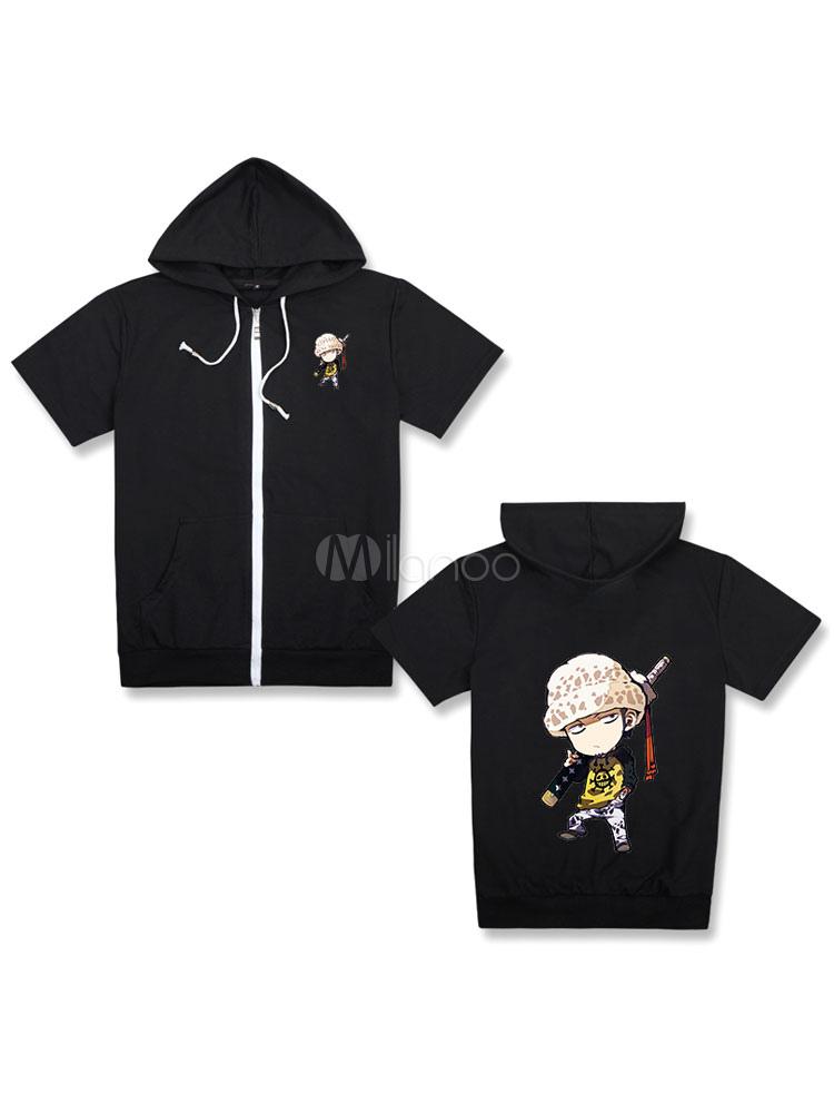 Buy One Piece Shounen Manga Trafalgar Law Cute Black Hooded T Shirt Top Halloween for $24.83 in Milanoo store