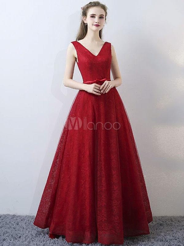 Buy Burgundy Evening Dresses Lace V Neck Long Prom Dresses Sleeveless Bow Sash Floor Length Formal Dress for $123.19 in Milanoo store