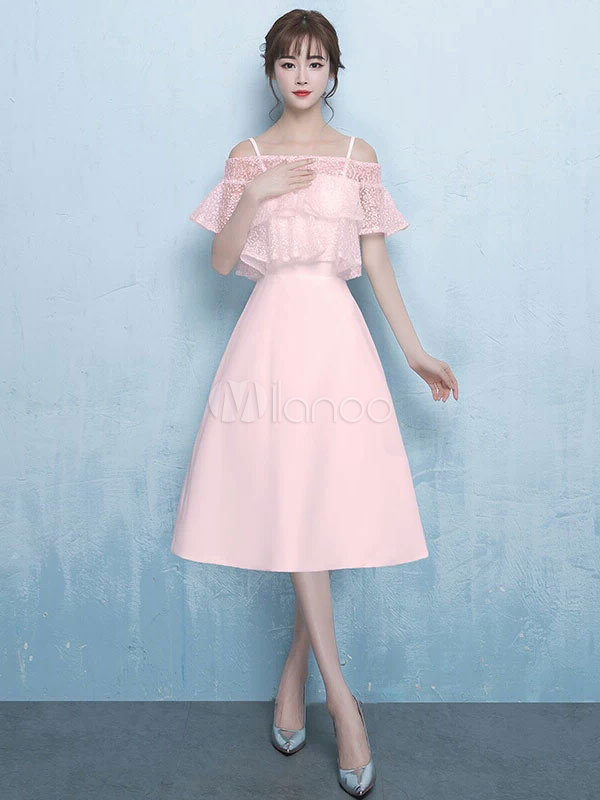 Buy Short Prom Dresses Soft Pink Bateau Cocktail Dress Lace Tierd Satin Straps Tea Length Homecoming Dress for $114.39 in Milanoo store