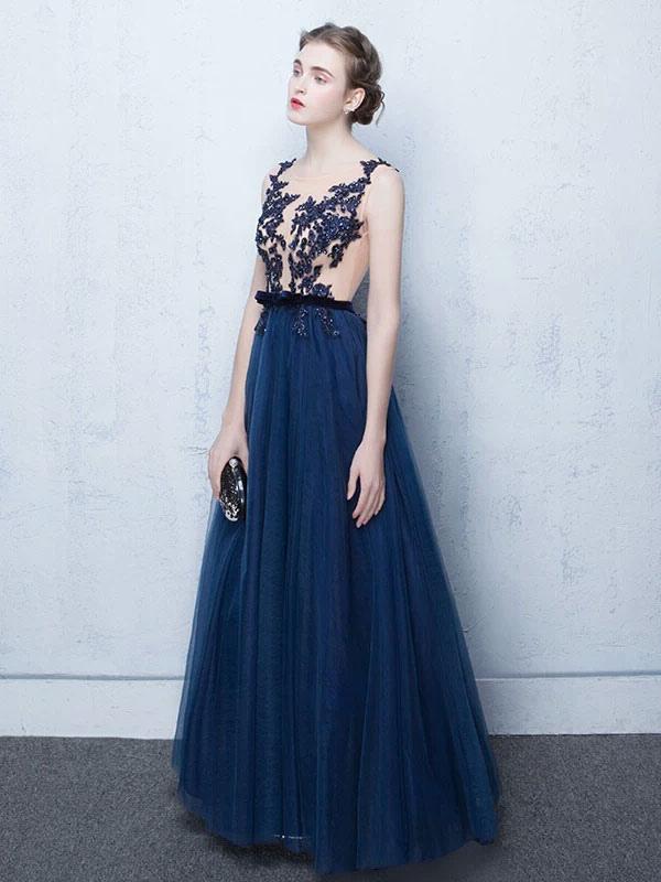 Dark Navy Prom Dresses Long Tulle Evening Dress Lace Illusion Floor