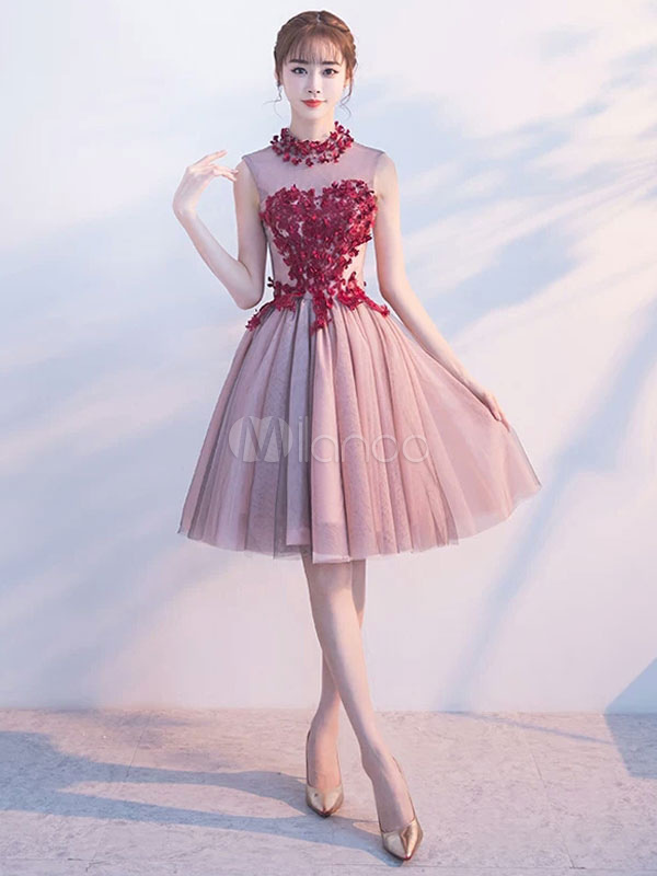 Burgundy Homecoming Dresses Tulle Lace Flowers Keyhole Illusion Short Prom Dresses