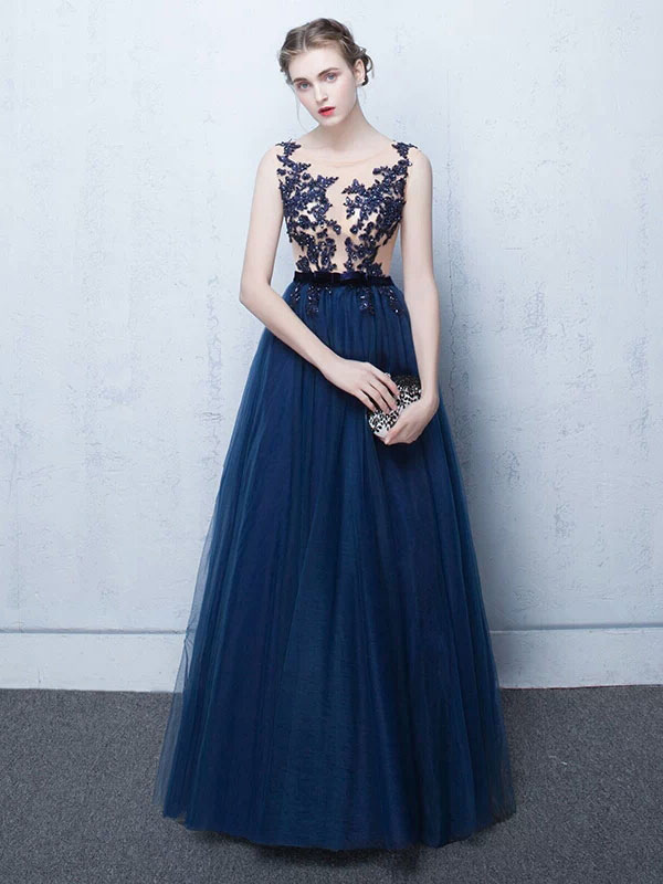 Dark Navy Prom Dresses Long Tulle Evening Dress Lace Illusion Floor ...