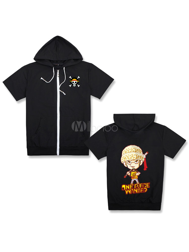 Buy One Piece Shounen Manga Trafalgar Law Cool Black Hooded T Shirt Top Halloween for $24.83 in Milanoo store