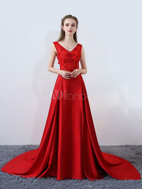 Buy Burgundy Evening Dresses Sexy High Split V Neck Satin Lace Flowers Beading Chapel Train Formal Dress for $241.99 in Milanoo store