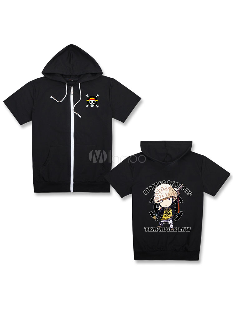 Buy One Piece Trafalgar Law Cool Black Hooded T Shirt Top Halloween for $24.83 in Milanoo store