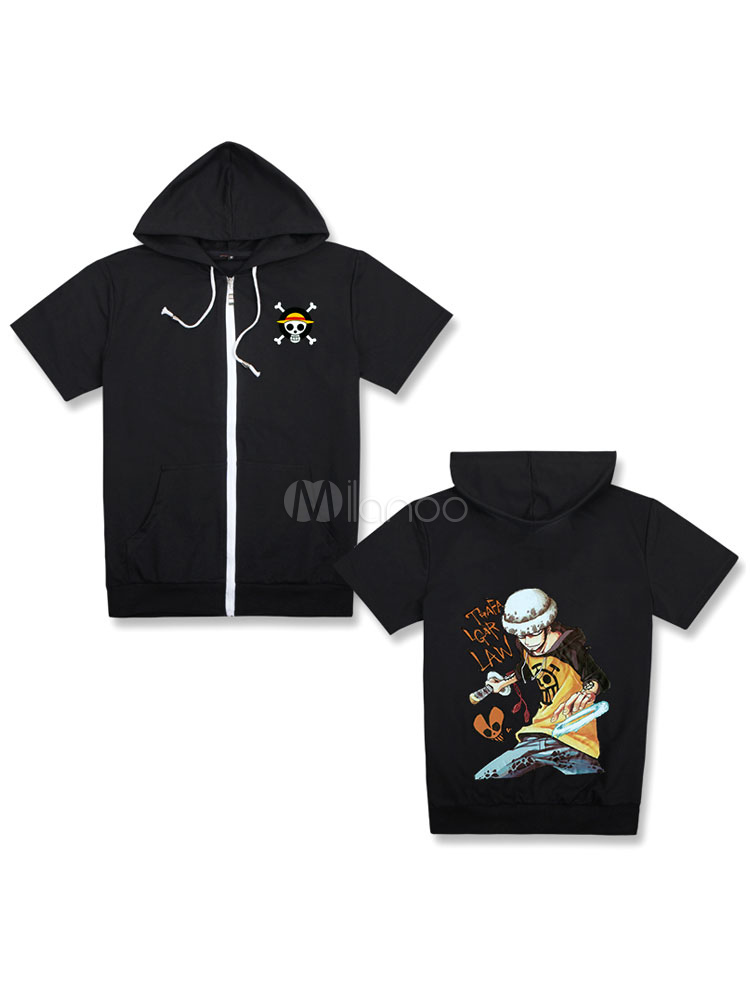 Buy One Piece Trafalgar Law Black Hooded T Shirt Top Halloween for $24.83 in Milanoo store