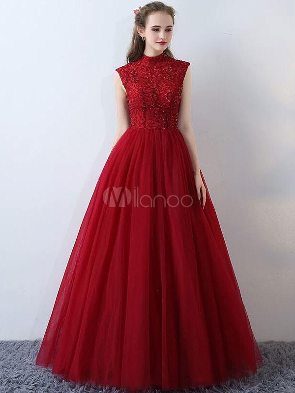 4f40136e04e robe élégante de soirée princesse en tulle bordeaux avec dentelle à licou  longueur plancher-No ...