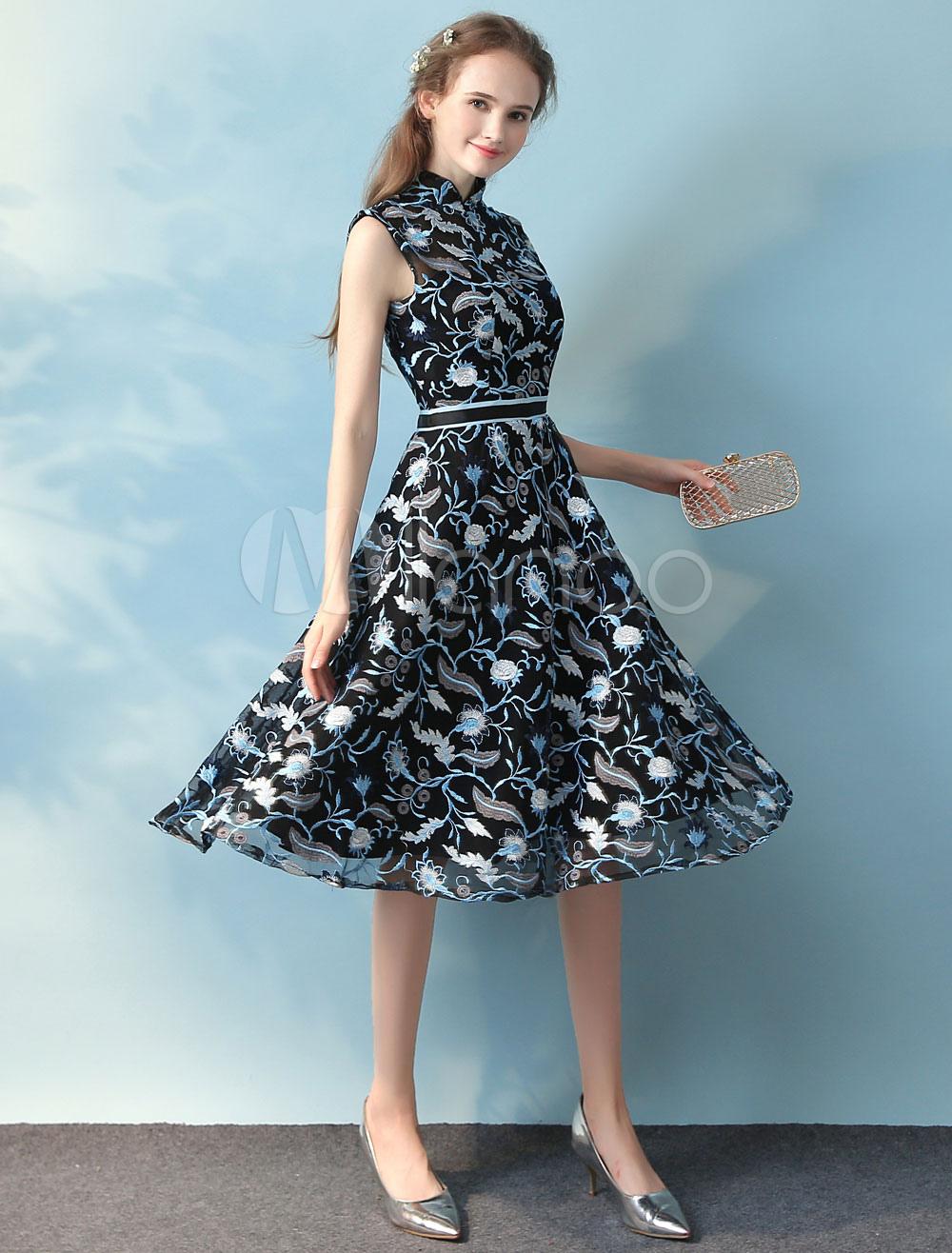 Dark Navy Cocktail Dress Embroidered Mandarin Collar Keyhole Back Sash A Line Tea Length Party Dress